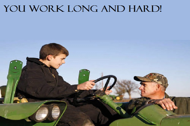 Picture of hard-working farmer and son on a tractor.