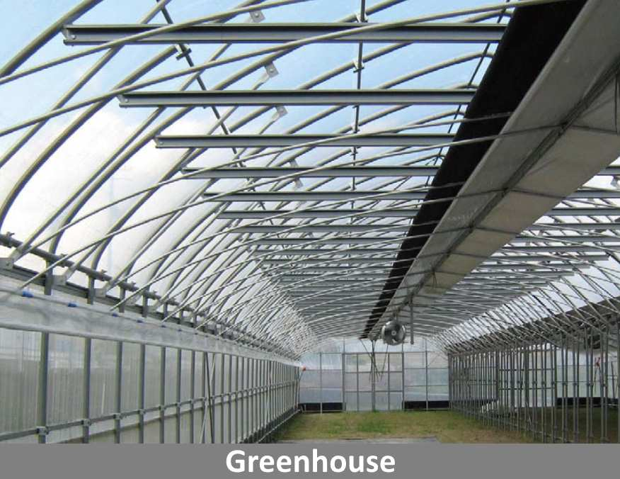 Greenhouse constructed using long-lasting ZAM® coated metal.