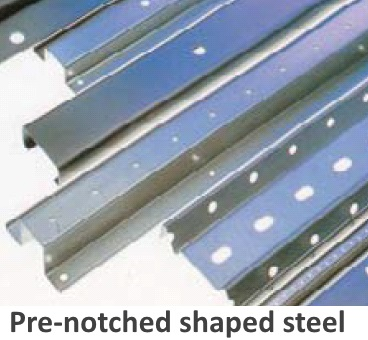 ZAM® coated steel processed into pre-notched shaped steel