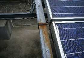 Comparison photos of solar racking systems made from ZAM® coated metal and Galvanized coated metal