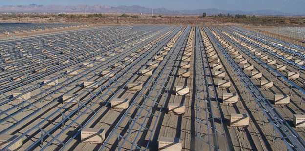 Large field full of solar grids that can be made from corrosion-resistant ZAM® coated metal.